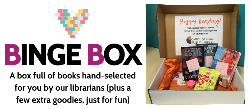 Binge Box: A box full of books hand selected for you by our librarians, plus a few extra goodies